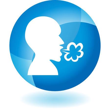 Enfermedad icono azul transparente aislado en un fondo blanco.