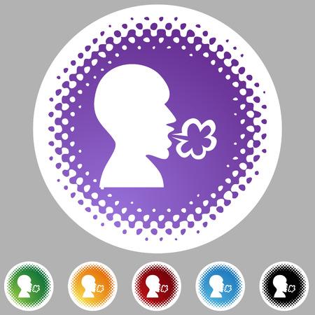 Illness halftone icon set isolated on a white background. Illustration