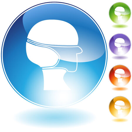 Surgical mask crystal icon set isolated on a white background.