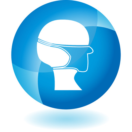 Surgical mask transparent blue icon isolated on a white background.