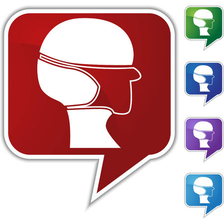 surgical mask: Surgical mask speech balloon icon set isolated on a white background. Illustration