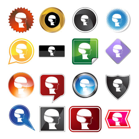 surgical mask: Surgical mask  variety icon set isolated on white background. Illustration