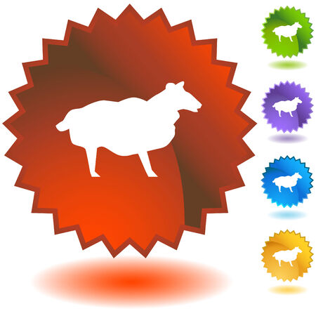 Sheep starburst icon set isolated on a white background. Vector