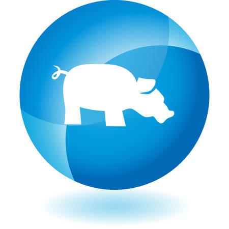 on white: Pig icon set isolated on a white background. Illustration