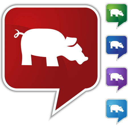 Pig icon set isolated on a white background. Vector