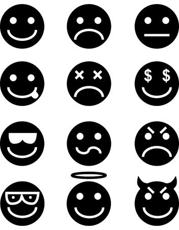 caras tristes: Conjunto de iconos de icono gestual aislado en un fondo blanco.