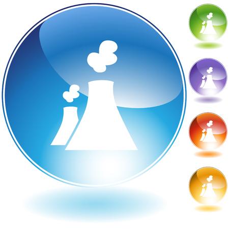 Nuclear powerplant icon isolated on a white background. Illusztráció