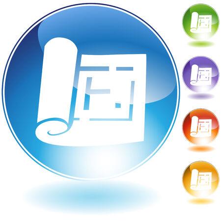 Blueprint icon set isolated on a white background. Illusztráció