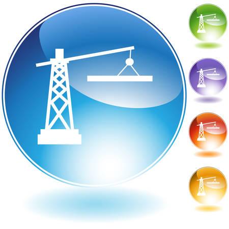 Construction crane icon isolated on a white background. Illusztráció