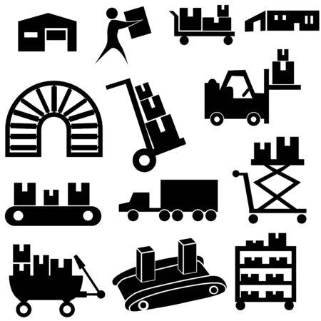 cinta transportadora: Conjunto de iconos de fabricaci�n aislado en un fondo blanco.