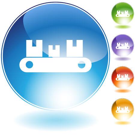 Conveyor belt icon isolated on a white background. Illusztráció