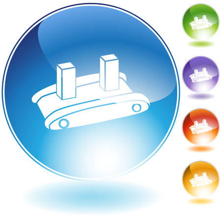 Shipping conveyor belt icon isolated on a white background. Vector