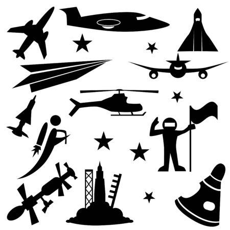 aerospace: Aerospace icon set isolated on a white background. Illustration