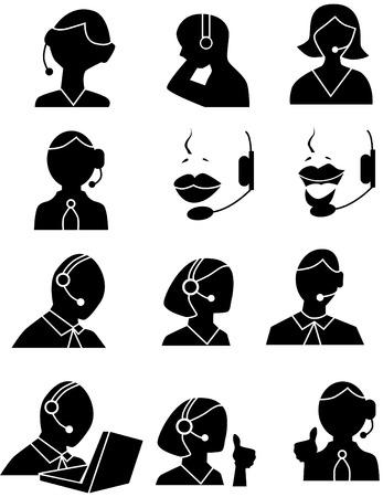headset business: Cliente servizio persone Icone isolate su uno sfondo bianco.