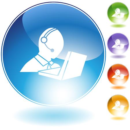 Service à la clientèle isolé sur un fond blanc. Banque d'images - 6554958