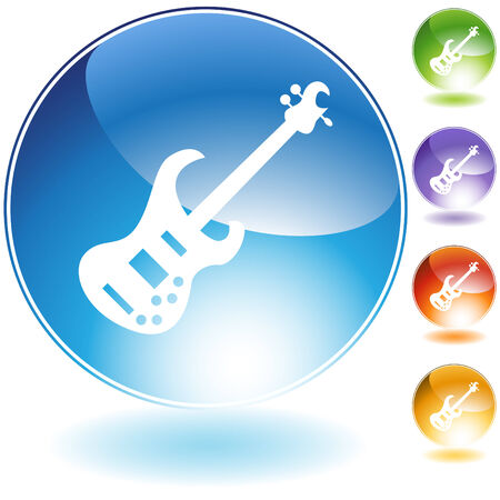 Bass guitar music instrument isolated on a white background.