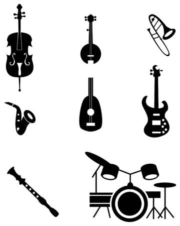 drum and bass: Musical instrument icon set isolated on a white background.