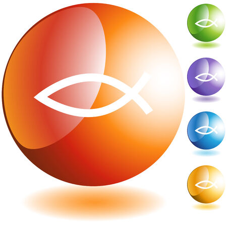 web icons: Jesus fish web button icon isolated on a background.