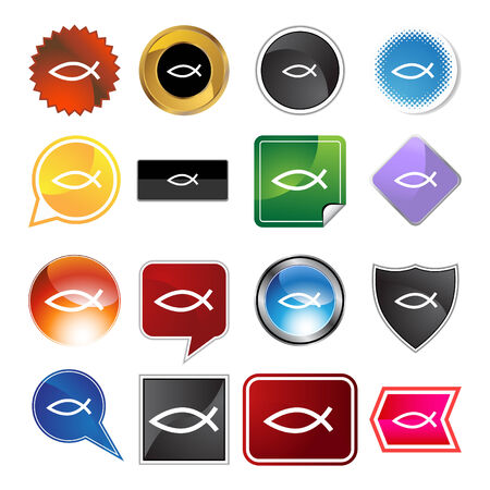 Jesus fish web button icon isolated on a background. Vector