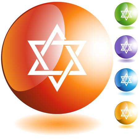 etoile juive: Bouton ic�ne �toile juive web isol� sur un fond.  Illustration