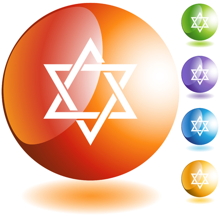 Jewish star icon web button isolated on a background.