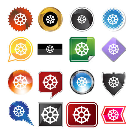Buddhist wheel life icon web button isolated on a background. Ilustração