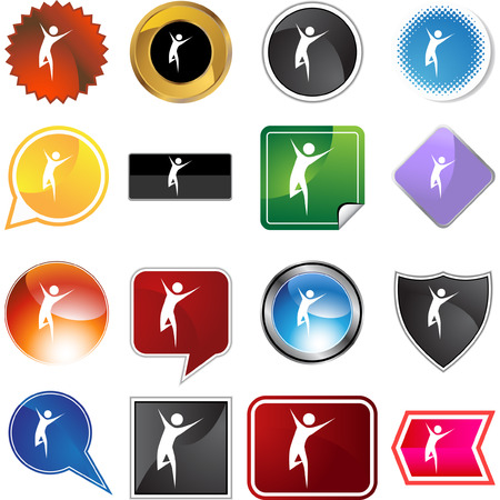 Runner stick figure isolated web icon on a background. Vector