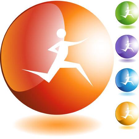 Runner stick figure geïsoleerde web pictogram op een achtergrond.  Stock Illustratie