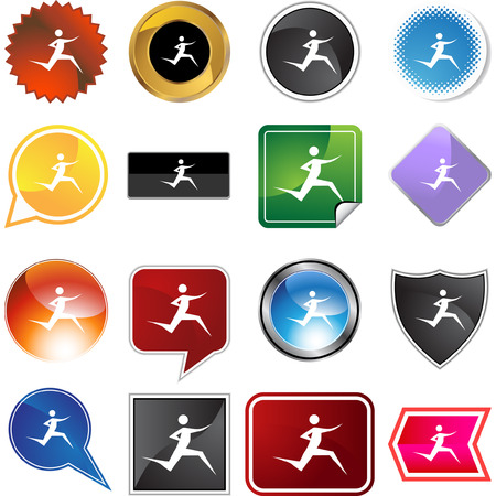 chrome man: Runner stick figure isolated web icon on a background.