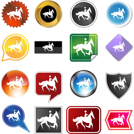 Horse jockey stick figure isolated web icon on a background. 일러스트
