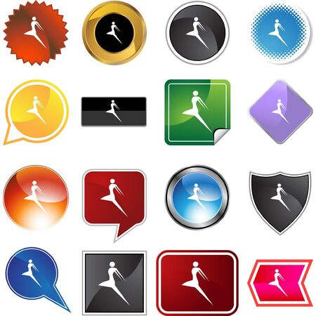 Action posing stick figure isolated web icon on a background. Stock Vector - 6555364