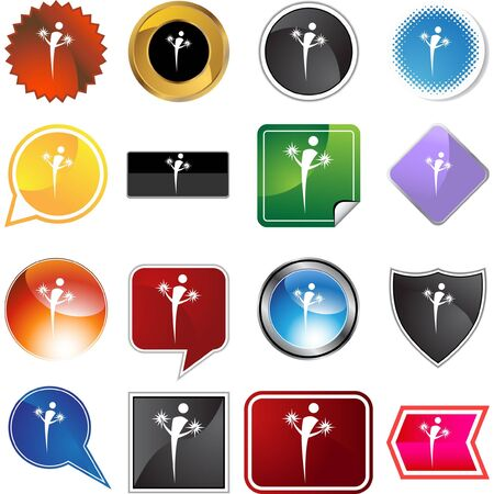 Action posing stick figure isolated web icon on a background. Vector