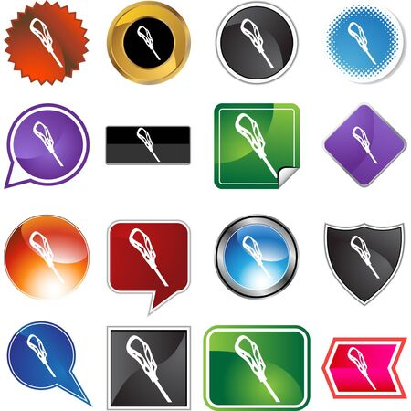 Lacrosse stick icon button isolated on a background. Vector