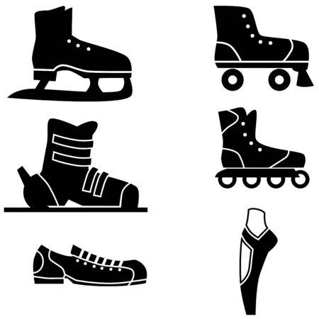 흰 배경에 고립 된 스포츠 신발 집합입니다.