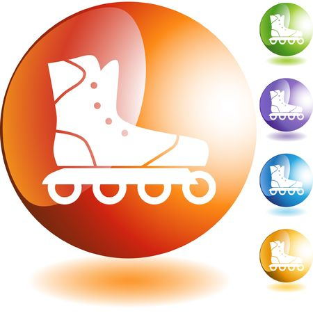 rollerblade: Rollerblade icon button symbol isolated on a background.