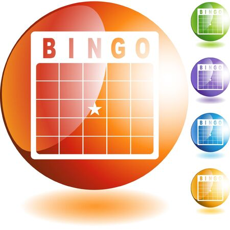 Bingo card web button isolated on a background