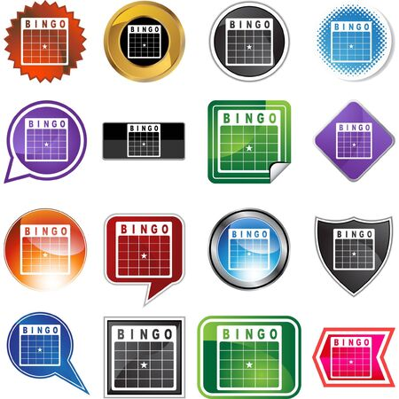 Bingo card web button isolated on a background Vector