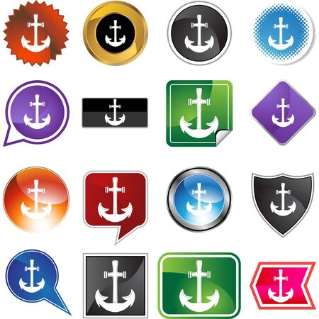 Anchor web button isolated on a background