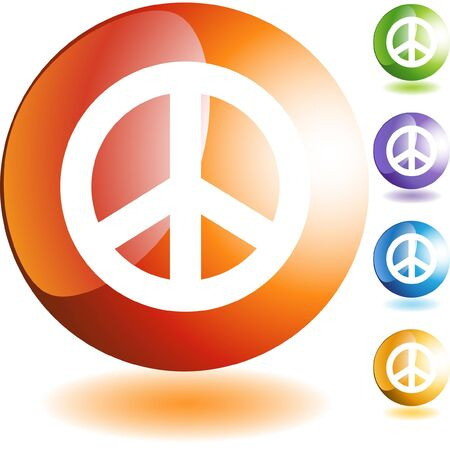 Peace sign web button isolated on a background Vector