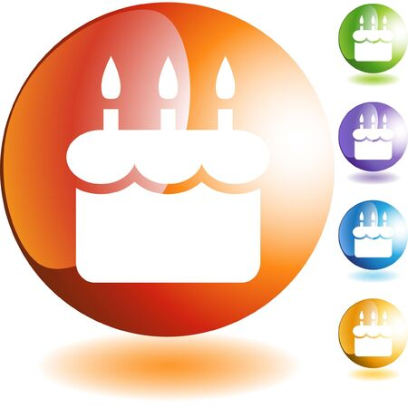 Birthday cake web button isolated on a background Vector