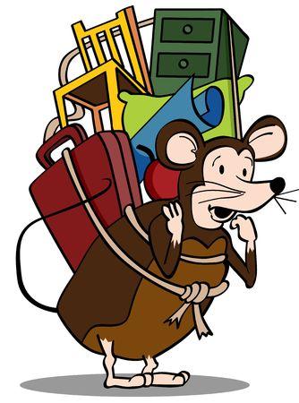 chair cartoon: Pack Rat Stock Photo