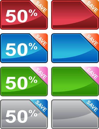 Discount Price Tag Set Stock Photo