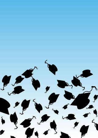 celebration background: Graduation Hat Toss Stock Photo