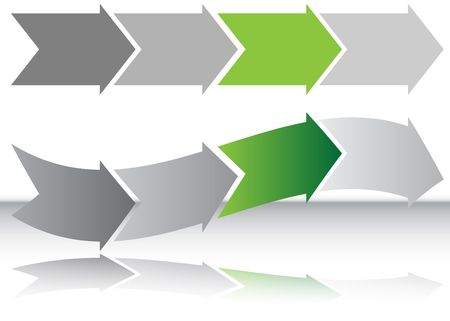 green arrow: Long Green Arrow Chart Stock Photo