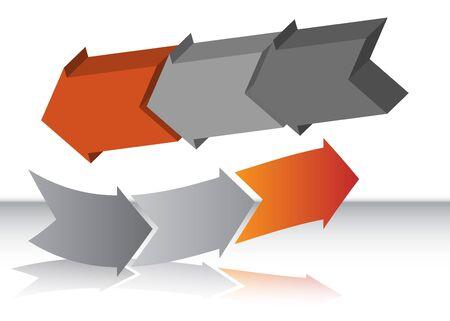 Curved Red Arrow Chart Zdjęcie Seryjne