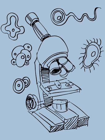 顕微鏡の落書き 写真素材