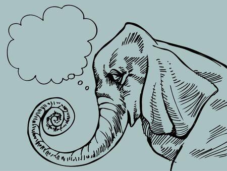 Thinking Elephant 版權商用圖片