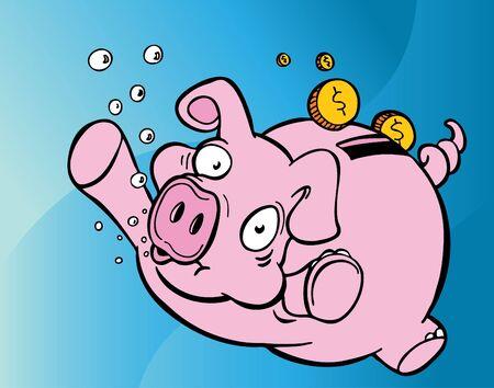 Drowning Piggy Bank Archivio Fotografico
