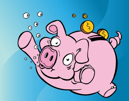 Drowning Piggy Bank Stock fotó