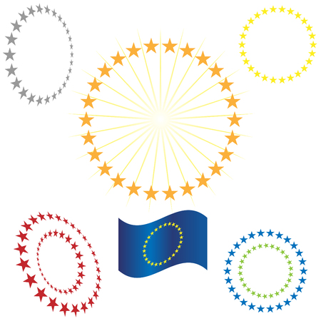 five stars: Gold Star Circle Illustration